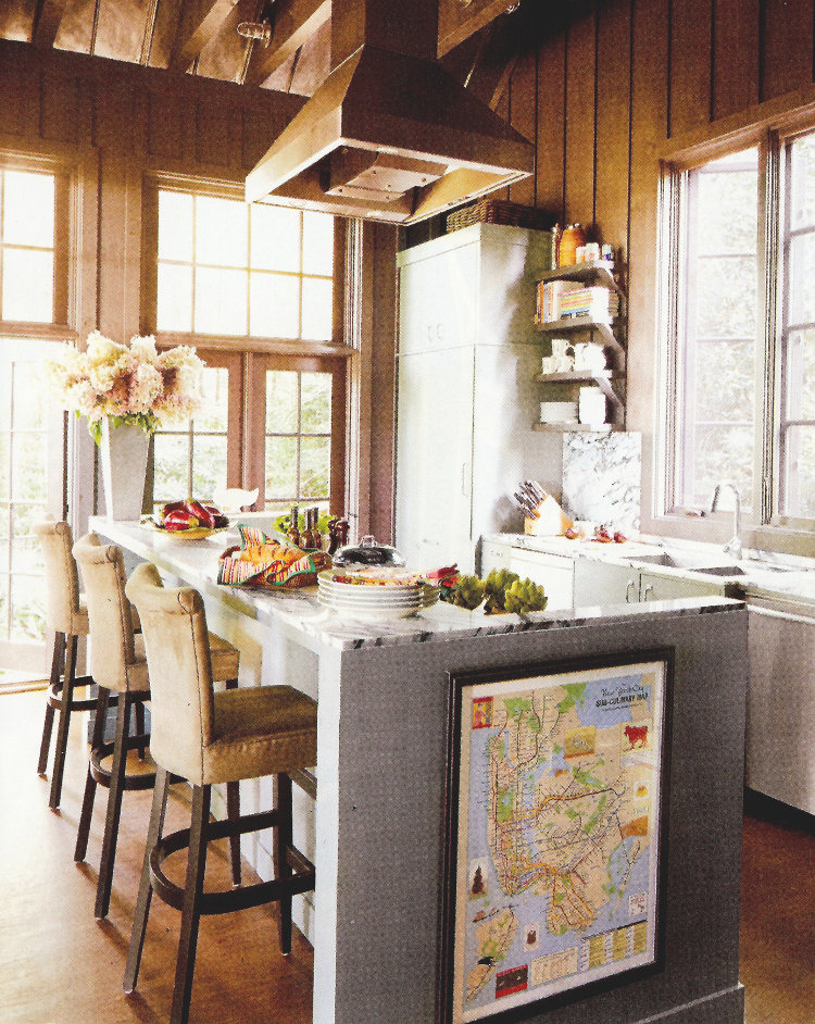 no upper cabinet kitchens - Designer John Oetgen's oak-paneled North Carolina kitchen - Veranda via Atticmag
