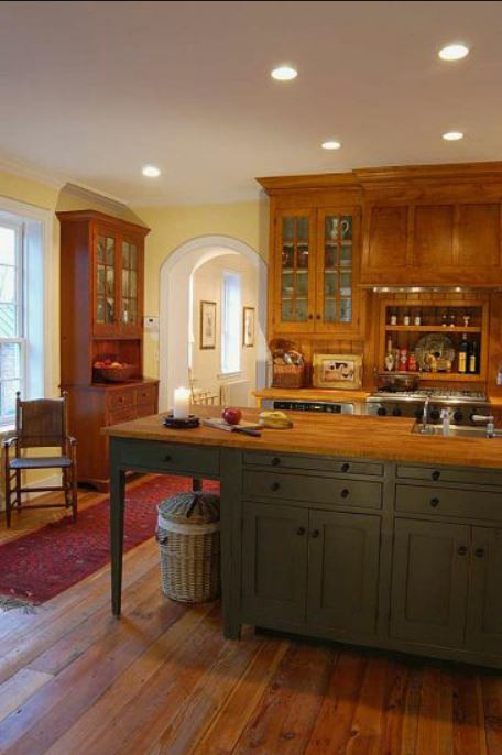 dark gray Shaker cabinets - shaker style kitchen with dove-gray painted island and multiple hutches - David T Smith via Atticmag