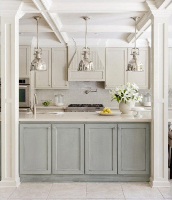 nordic color kitchen - kitchen with mixed white, sand and beiges, plus greyish seafoam green - Tobi Fairley via Atticmag