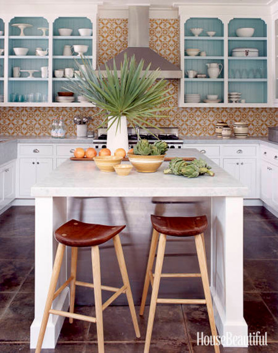 open kitchen shelves - open upper cabinet shelves with aqua contrast painted back and bracket-shape upper corners house beautiful via atticmag