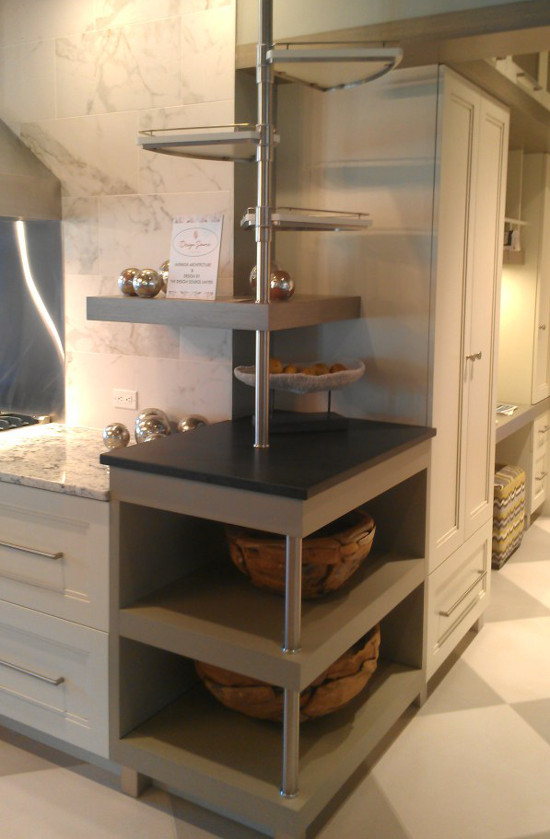 Open Kitchen Shelves   Contemporary Corner Shelf With Open Bottom And  Wedge Shaped Upper Shelves