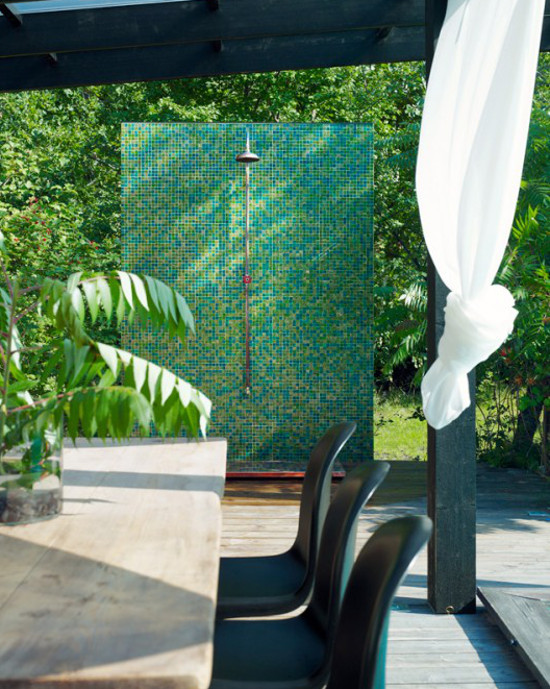 modern outdoor showers - green mosaic tile wall with rain shower head, industrial valve and copper base - Richard Lindvall via Atticmag