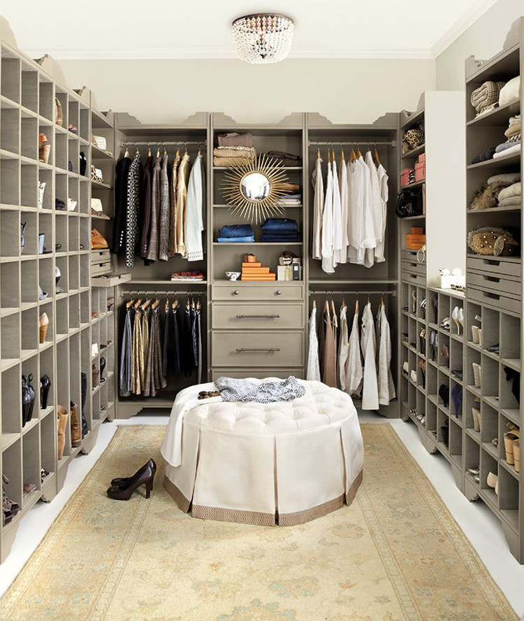 dressing room closet - modular Sarah closet storage units in brushed taupe - Ballard Designs via Atticmag