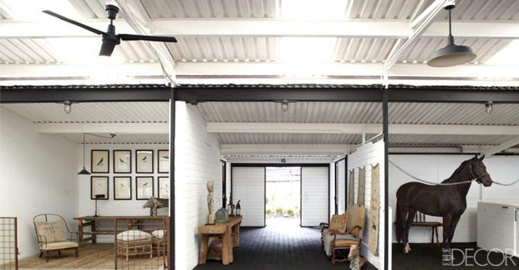 lifestyle rooms - Ellen DeGeneres' horse barn furnished with antiques - Elle Decor via Atticmag