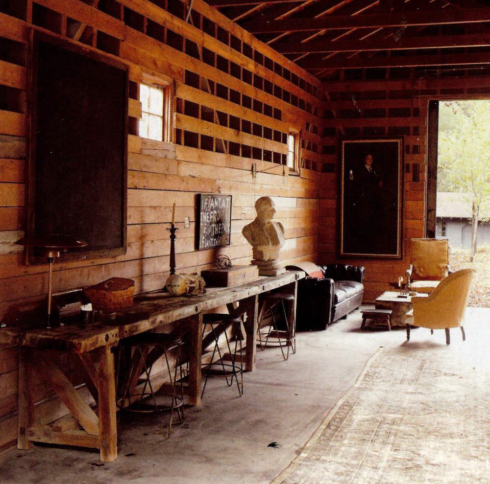lifestyle rooms - Ellen DeGeneres' romantic barn used a a games room on her California ranch - Elle Decor via Atticmag