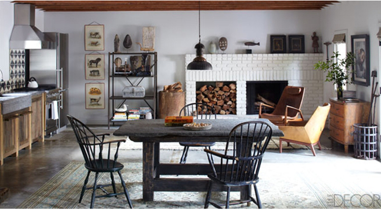 lifestyle rooms - kitchen-sitting room of Cabin 6 on Ellen DeGeneres' California ranch - Elle Decor via Atticmag