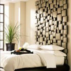 tall headboards - assemblage of beige cushion shapes from a hotel style headboard - decorativebedrooms.com via atticmag