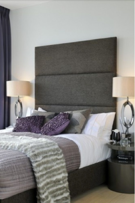 tall headboards - contemporary channel tufted gray headboard - houzz via Atticmag