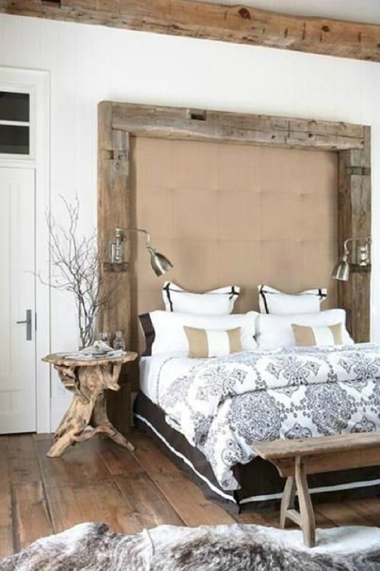 tall headboards - rustic timber framed upholstered headboard - usualhouse.com via atticmag