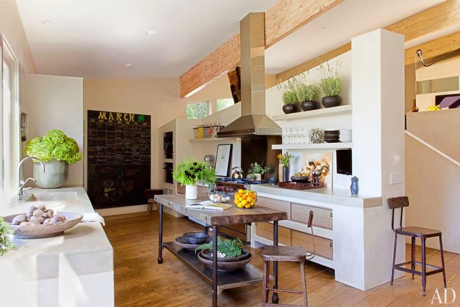 celebrity kitchens - Patrick Dempsey's industrial edge Malibu kitchen with concrete counters - AD via Atticmag