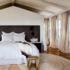 belgian linen draperies - natural belgian linen drapery panels in a Florida beach house bedroom - Veranda via Atticmag