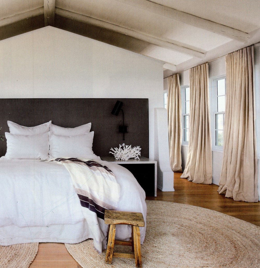 belgian linen draperies - natural belgian linen drapery panels in a Florida beach house bedroom - Veranda via Atticmag