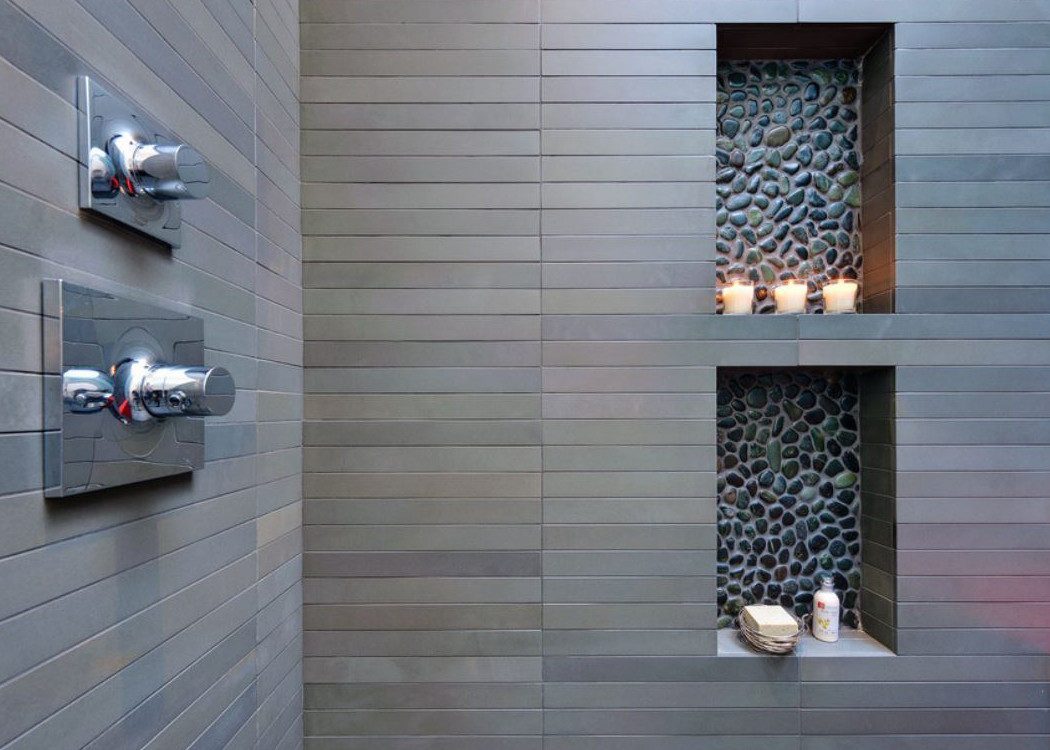Pebble Tile Bathrooms Atticmag - Pebble tiles for bathroom floor