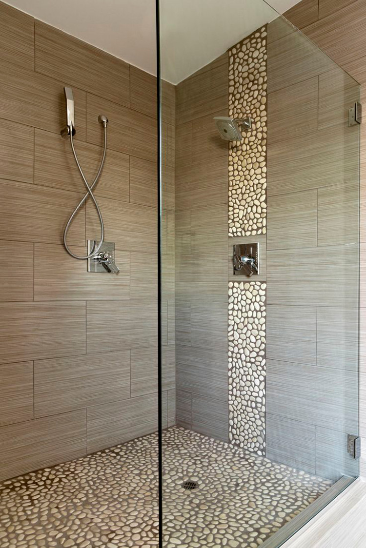 contemporary shower with pebble tile panel and floor - fairfaxvacontractors via Atticmag.com