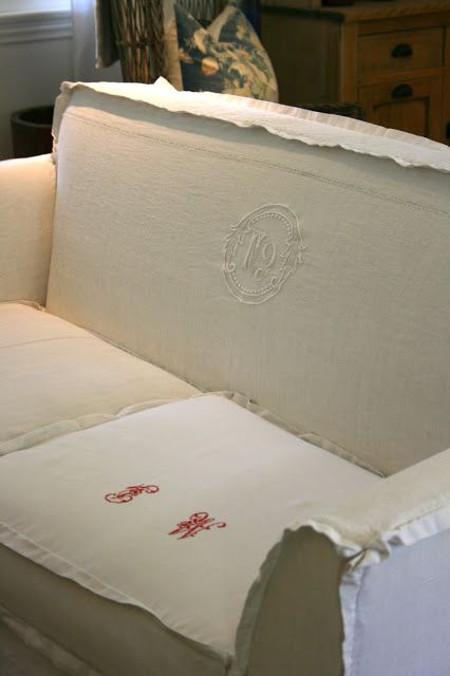 monogram slipcover - multi monogram sofa from p pebble via Atticmag