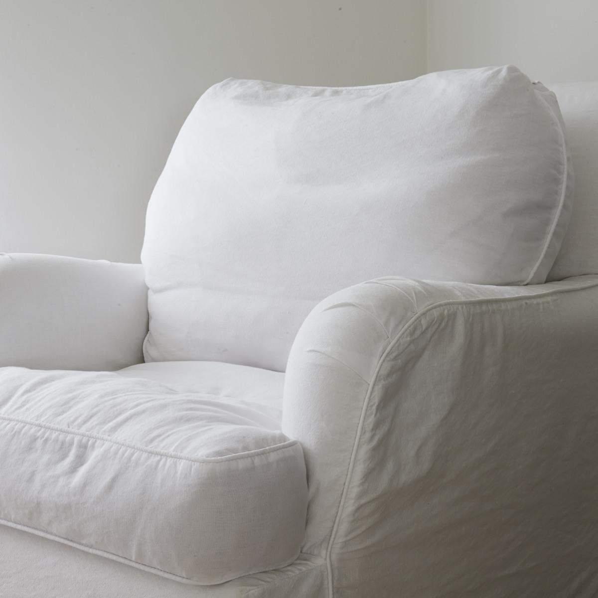 monogrammed slipcover - plain linen slipcover from Shabby Chic via Atticmag