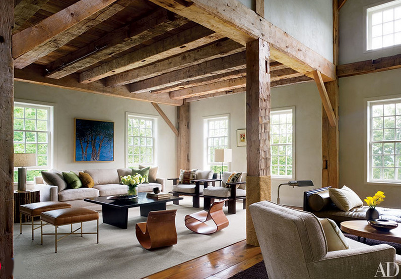 barn living rooms - Connecticut urban style barn living room with mid-century furniture by S. Russell Groves - AD via Atticmag
