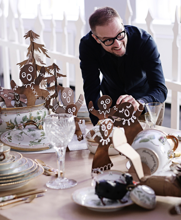 2014 Royal Copenhagen Christmas Seal Tables - TV host Shane Brox' fantasy cookie factory airplane disaster table set with Florica Danica pattern - Royal Copenhagen via Atticmag