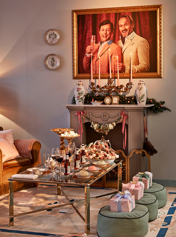 Royal Copenhagen 2015 Christmas - Gilded Christmas living room by Martin Buch and Rasmus Botoft aka the snobs with Flora Danica porcelain on the coffee table - Royal Copenhagen via Atticmag