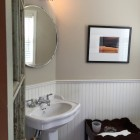 powder room - Jane's redone powder room with Farrow & Ball Stony Ground wall color - Atticmag