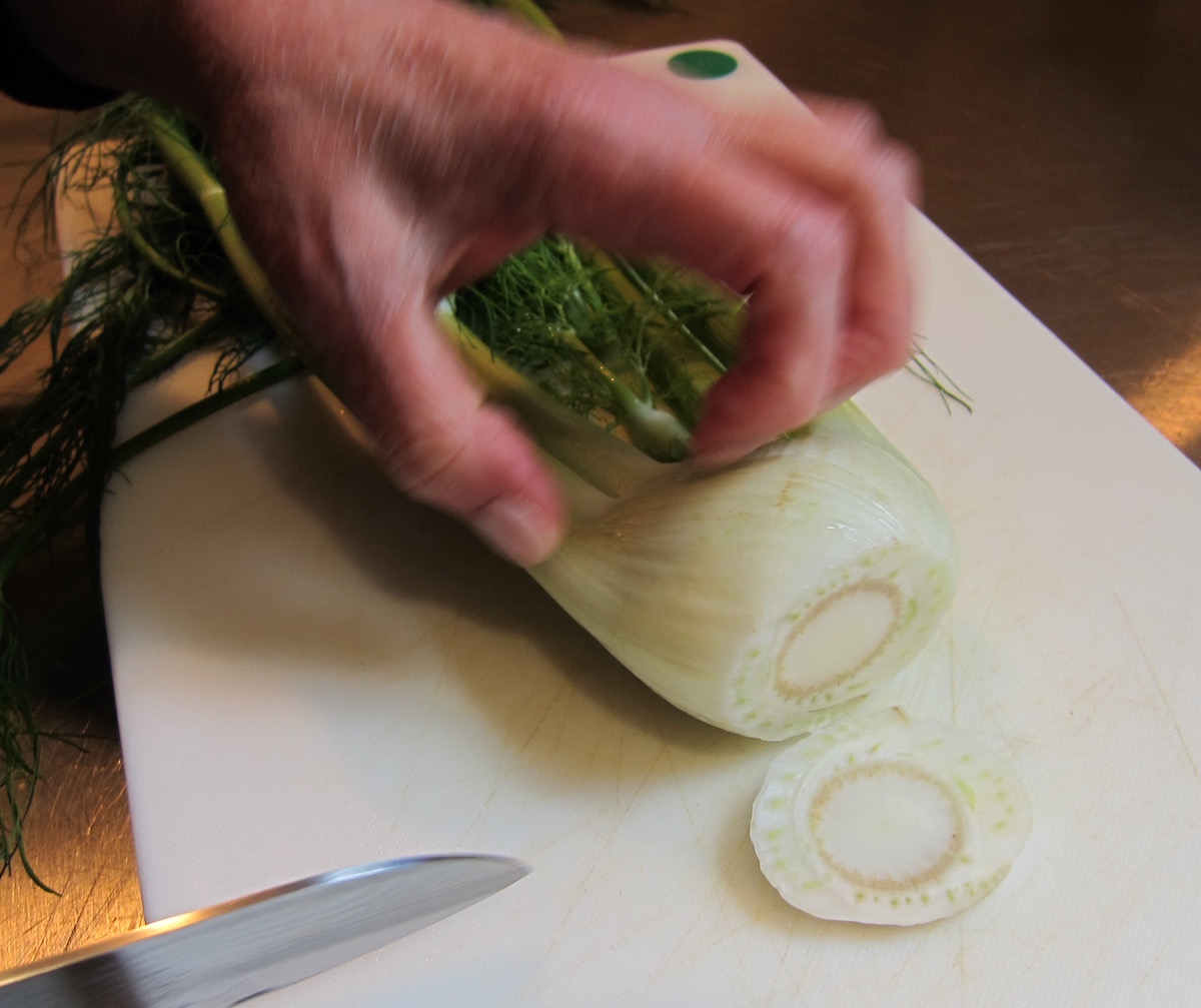 two soups in one bowl - prepare fennel by slicing off the bottom - Atticmag