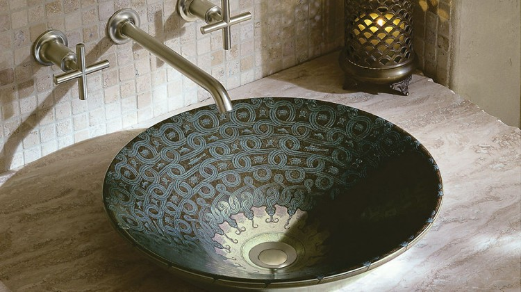 exotic bathroom sinks - Kohler Serpentine bronze vessel sink in sandbar with Purist wall mounted faucet - Kohler via Atticmag