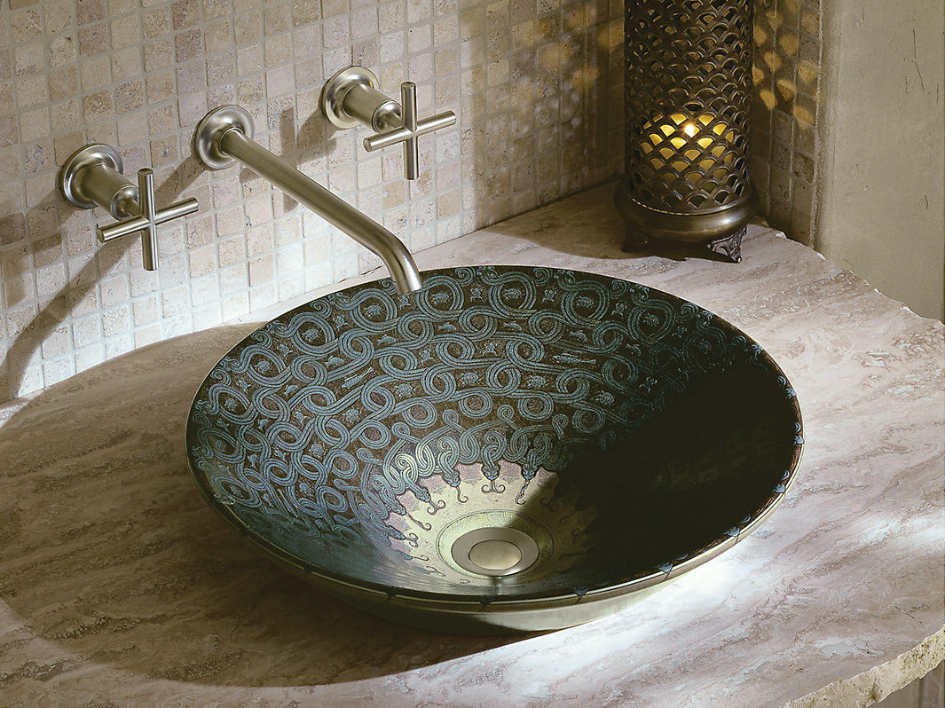 Charmant Exotic Bathroom Sinks   Kohler Serpentine Bronze Vessel Sink In Sandbar  With Purist Wall Mounted Faucet