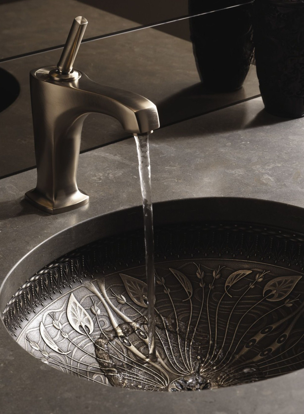 exotic bathroom sinks - Kohler Lilies Lore medium patina cast bronze sink - Kohler via Atticmag