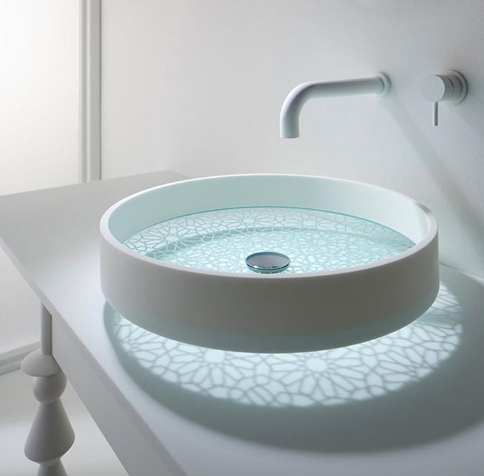 Exotic Bathroom Sinks   OmVivo Motif Etched Glass Bottom Vessel Sink In  Kaleidoscope   OmVivo