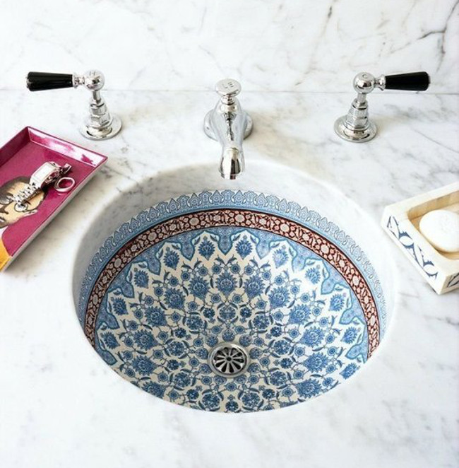 exotic bathroom sinks - Kohler Marrakesh decorated under mounted sink - Apartment Therapy via Atticmag