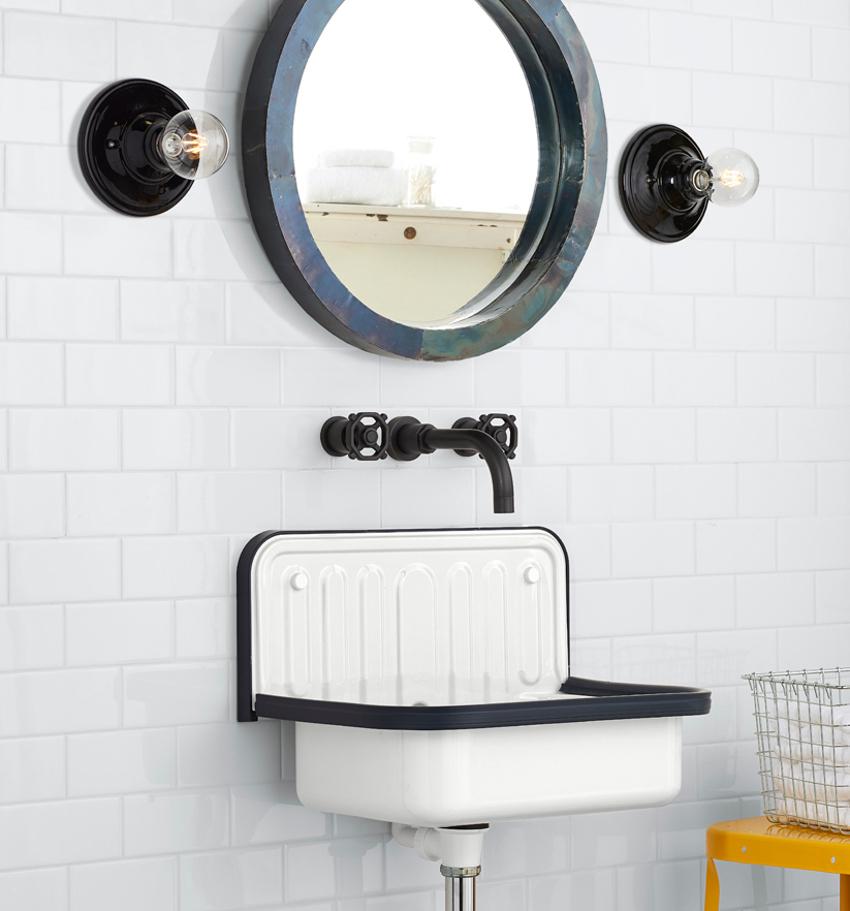 exotic bathroom sinks - Alape enameled bucket sink with blue rim - Rejuvenation via Atticmag