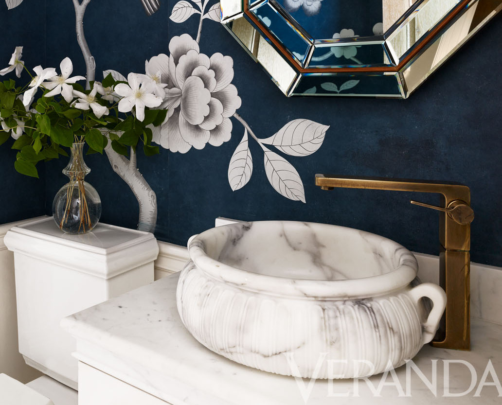 exotic bathroom sinks - Kallista Kasos calacatta borghini marble vessel sink by Michael S Smith - Veranda via Atticmag
