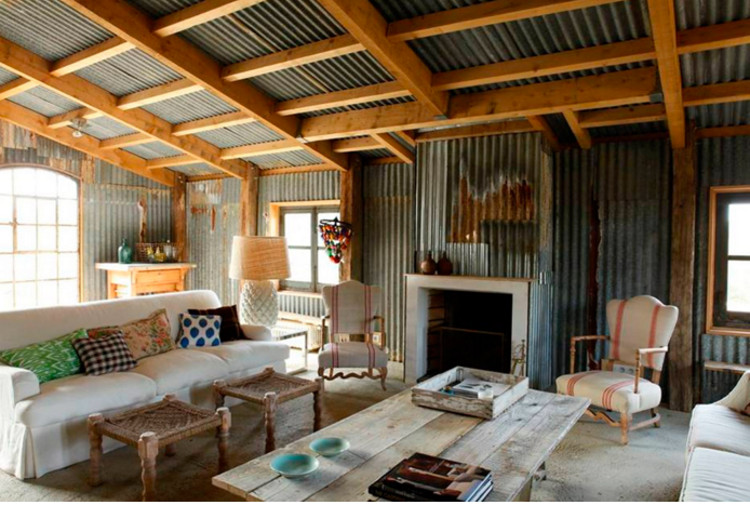 home dècor trends - corrugated steel walled living room in Biarritz by Isabel López-Quesada via Atticmag