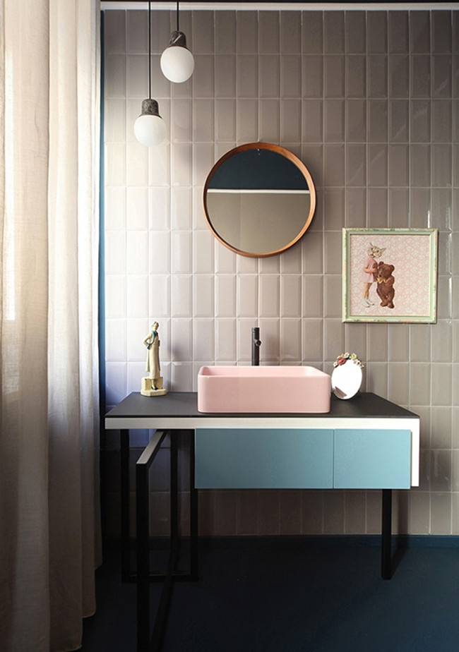 home décor trends - minimalist children's bathroom by UdA Architetti with pink vessel sink and colored vanity - UdA via Atticmag