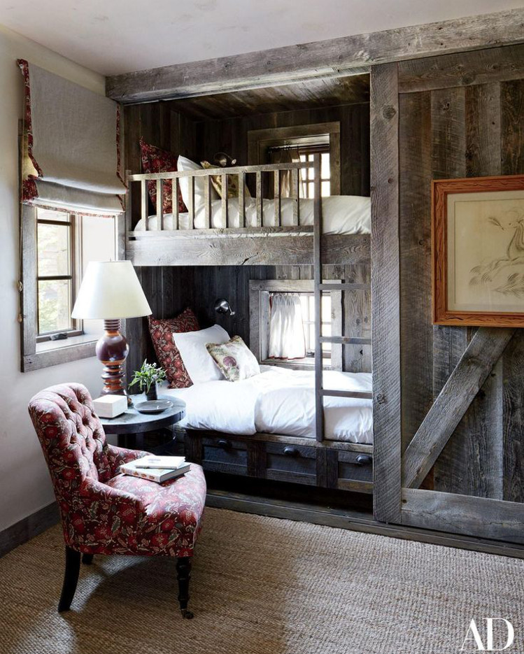 home décor trends - repurposed barnwood in a guest room bunk by Markham Roberts - AD via Atticmag