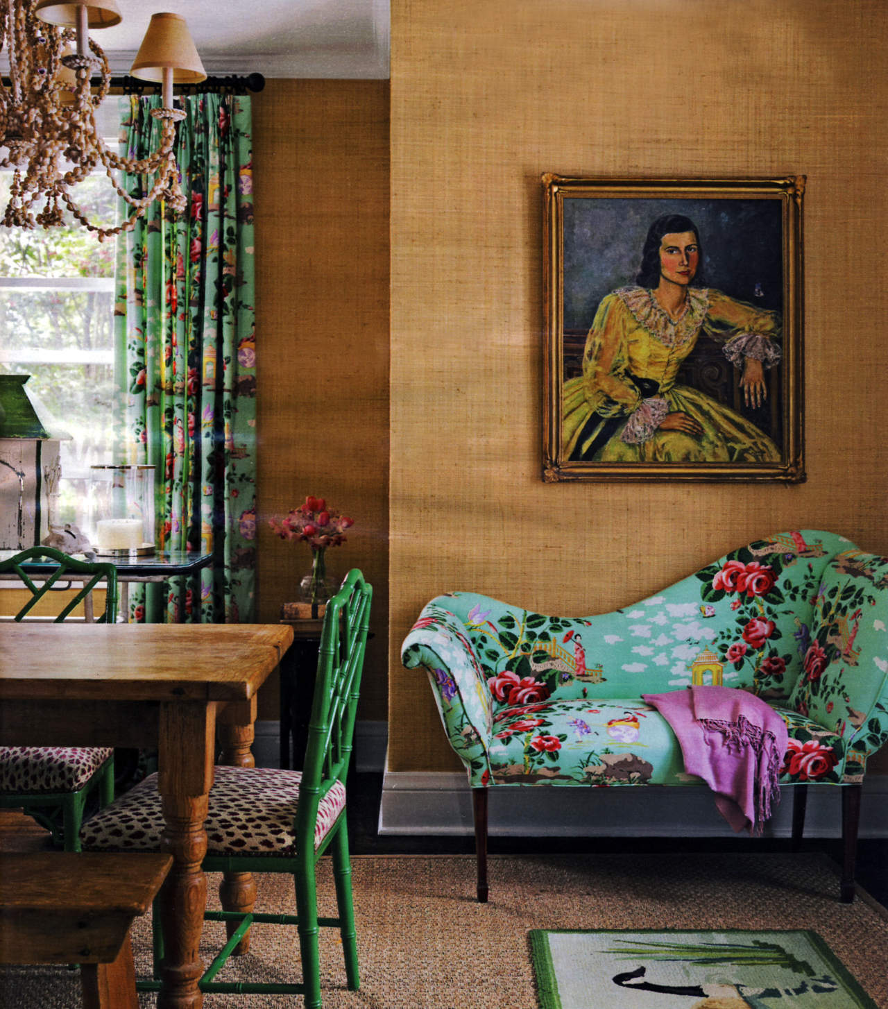 home décor trends - flowered print sofa in 2009 dining room on Long Island - Country Living via Atticmag