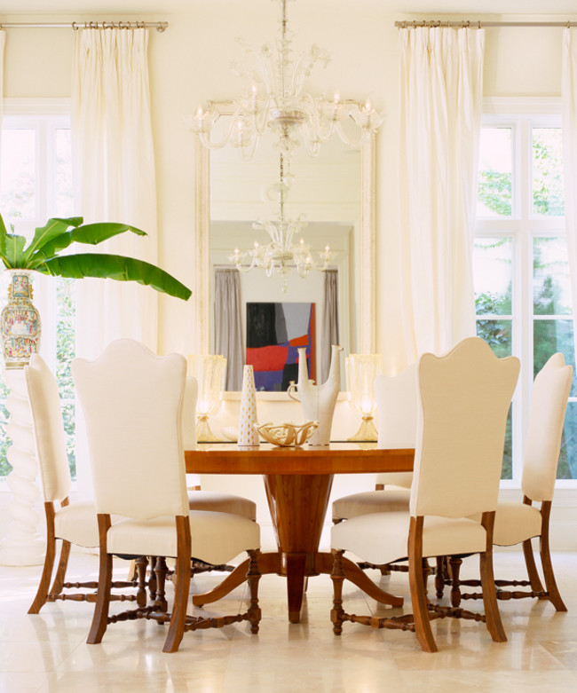 home décor trends - traditional white dining room - Jan Showers via Atticmag