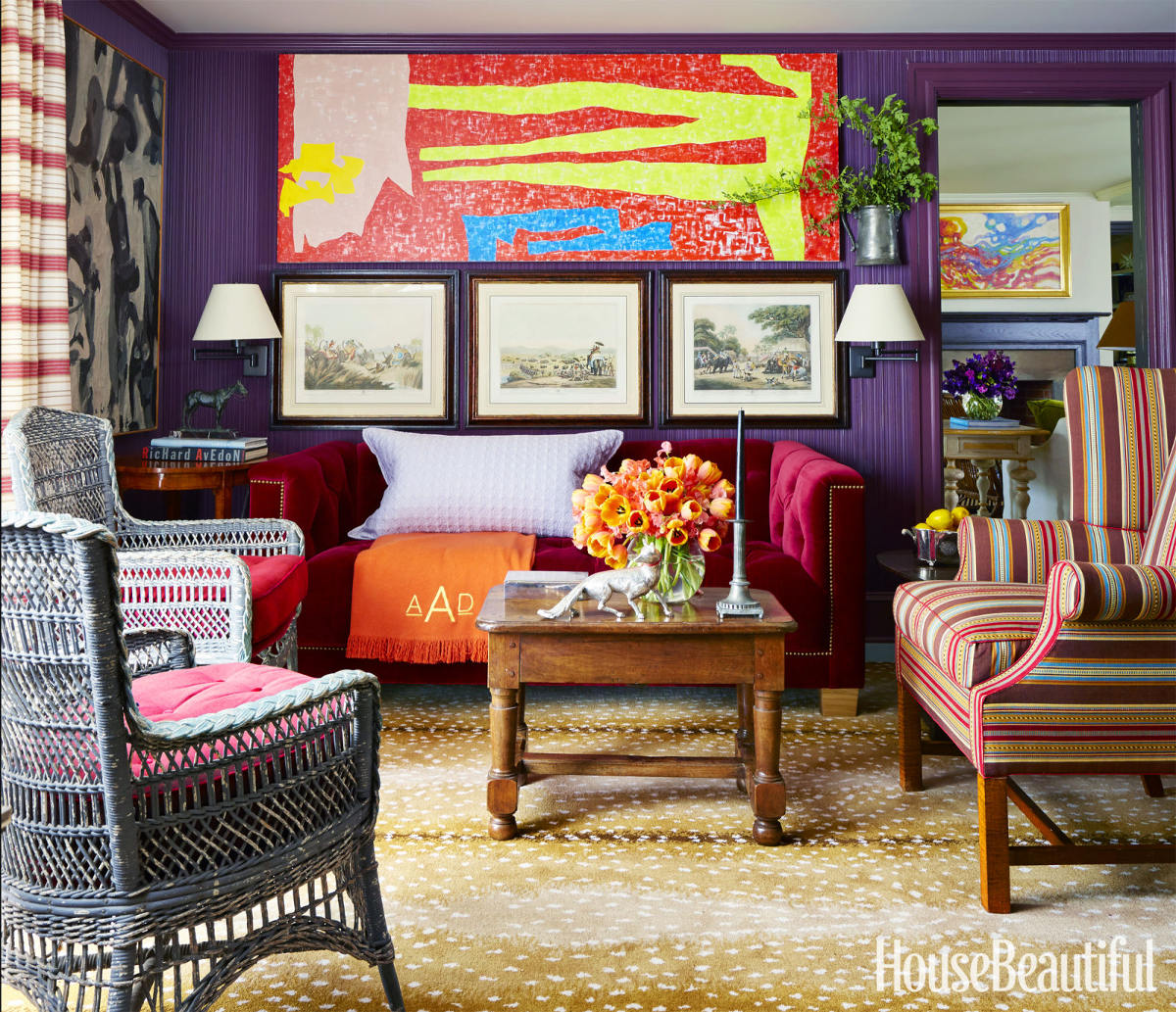 crayola colored woodwork - purple wall library with Bordéaux Red trim by Jeffrey Bilhuber - House Beautiful via Atticmag