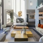 modern mansion - living room of Beverly Hills home designed by Kirk Nix purchased by Chrissy Teigen & John Legend - KNA Design via Atticmag