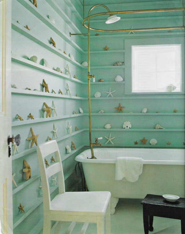 seafoam guest bath - Jacques Grange bath in a french country house - Elle Decor via Atticmag