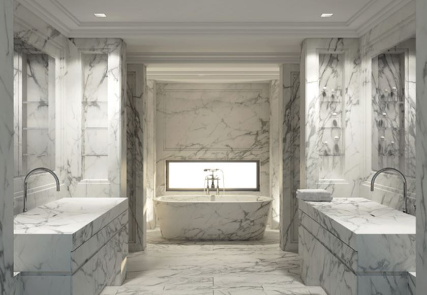 white marble bathroom - Beirut penthouse his and hers bath with matching freestanding marble tub in an windowed alcove - Joseph Dirand via Atticmag