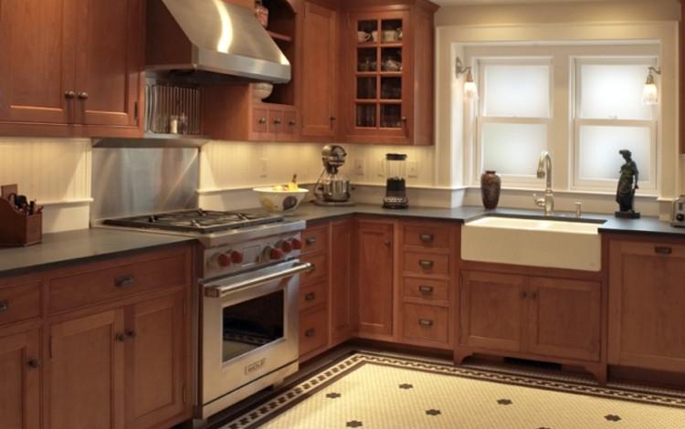 Bistro Tile Floor Kitchen