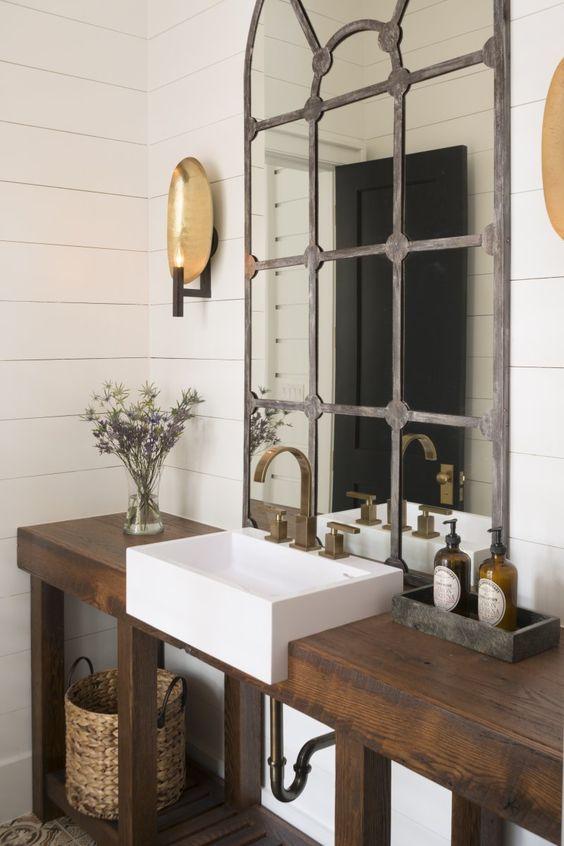 modern powder room sinks - zero radius white ceramic sink in a wood console - palmetto cabinet studio via atticmag