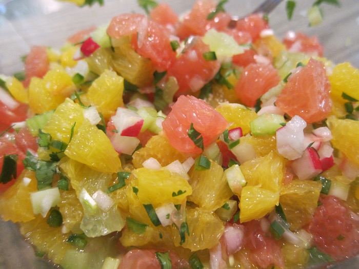 citrus salsa - orange, pink grapefruit and lime pieces are spiced with serrano chiles and cilantro as a sauce for grilled or roasted foods - Atticmag