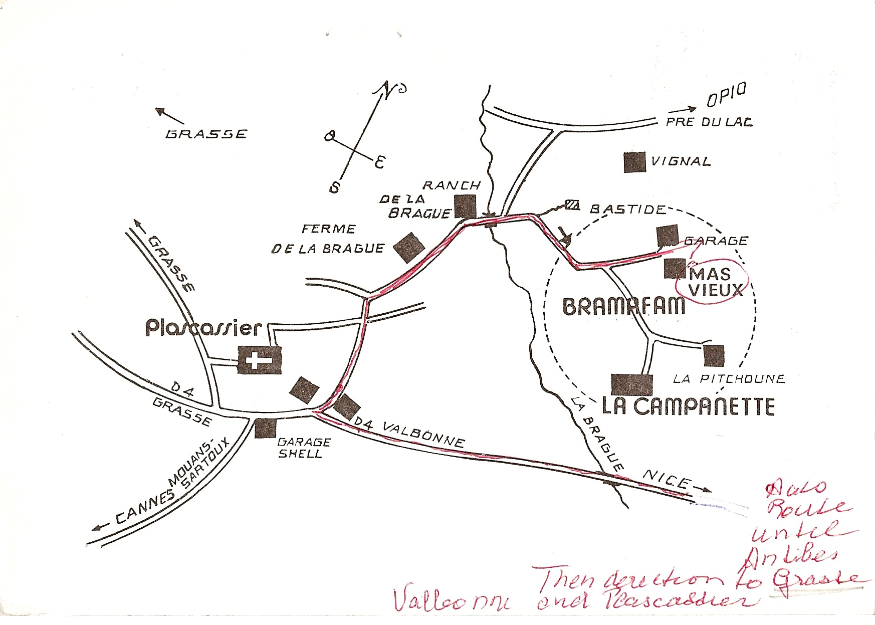 Julia Child - Simone Beck's postcard map of Bramafam - Atticmag