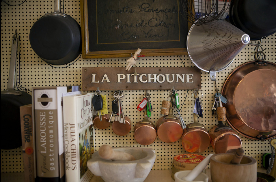 Julia Child - section of pegboard in the cookbook icon's house in the South of France - NY Times via Atticmag