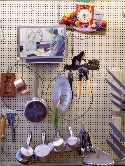 Julia Child - close up of the pegboard wall in her French kitchen - Sotheby's via Atticmag
