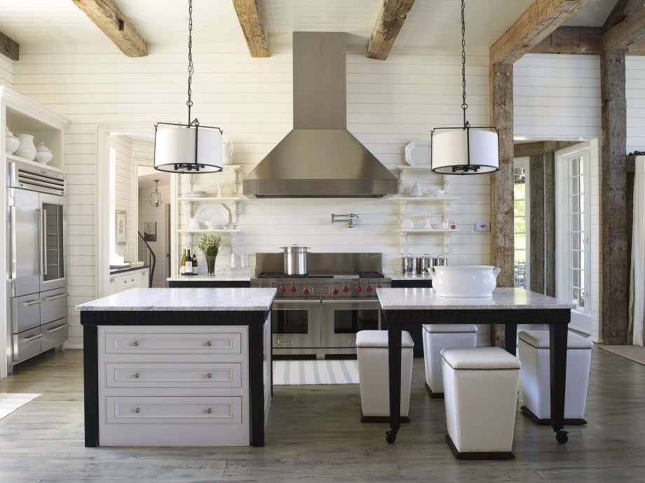 white shiplap kitchen - Alabama lake house kitchen with white planked walls and ceiling and a divided island - Tracery Interiors via Atticmag