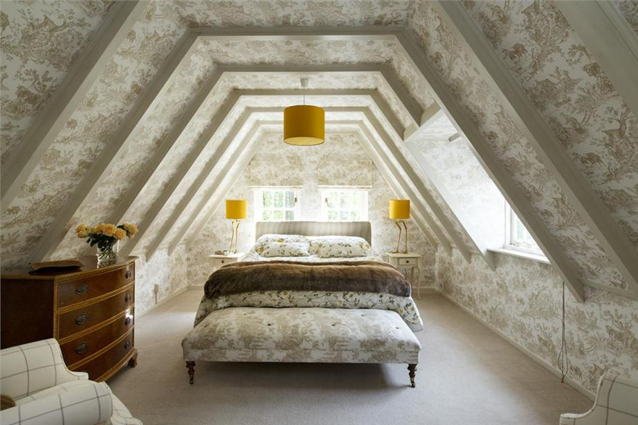 toile bedroom - taupe Thibaut toile in a Dutch attic master bedroom - Malcolm Duffin via Atticmag