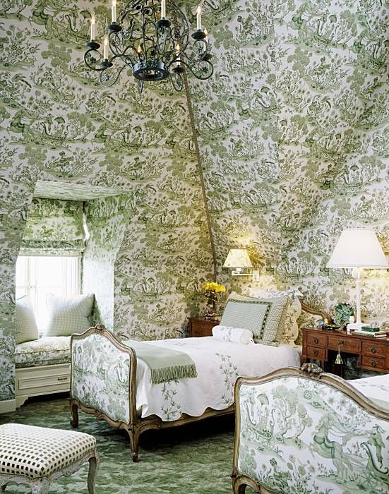 toile bedrooms - Grey Watkins Enchanted Forest green toile in a San Francisco townhouse - Tucker & Marks via Atticmag